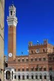 广场的del campo, Siena Il pubblic宫殿 库存照片