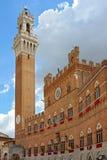 广场的del campo, Siena Il pubblic宫殿 免版税图库摄影