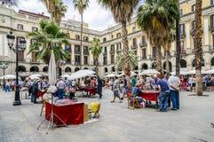 广场真正在巴塞罗那西班牙、邮票和硬币收集 库存图片