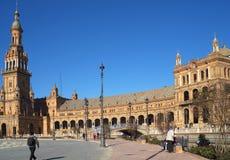 广场西班牙在塞维利亚安达卢西亚西班牙 免版税图库摄影