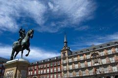 广场马德里市长。西班牙。 免版税库存照片