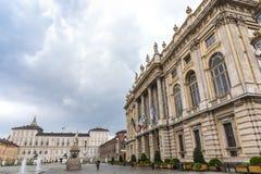 广场Castello,一个城市广场在都灵,意大利 库存图片