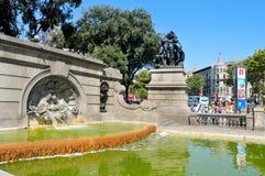 广场Catalunya在巴塞罗那,西班牙 库存图片