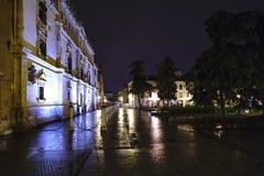 广场de圣地亚哥在埃纳雷斯堡西班牙wi的中心 库存图片