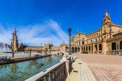 广场de西班牙的看法在塞维利亚西班牙 免版税库存照片