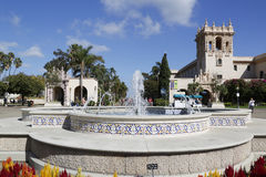 广场de巴拿马喷泉在巴波亚公园在圣地亚哥 图库摄影