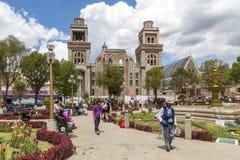 广场de armas在瓦拉斯,秘鲁 库存图片