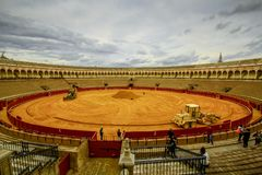 广场de toros de la Real Maestranza de Caballeria de塞维利亚 图库摄影