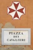 广场dei与pisan十字架,比萨,意大利的Cavalieri匾 库存图片