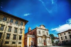 广场dei Cavalieri在hdr的比萨 库存照片