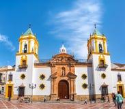 广场del的索乔尔罗教会在朗达,西班牙 免版税库存照片