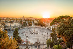 广场del Popolo,日落的罗马 免版税库存图片