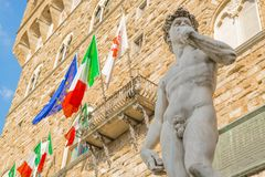 广场della的Signoria米开朗基罗的大卫在佛罗伦萨 免版税库存图片