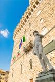 广场della的Signoria米开朗基罗的大卫 库存图片