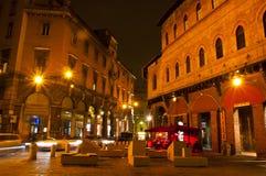 广场della Mercanzia,波隆纳,意大利 图库摄影