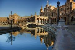 广场España,塞维利亚,安大路西亚,西班牙,特别是 免版税库存照片