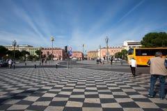 广场Massena广场在尼斯城市,法国 免版税库存照片