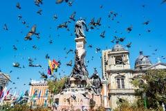 广场Murillo在拉巴斯 免版税库存照片