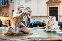 广场Navona的北向视图与fontana del莫罗的 免版税库存照片
