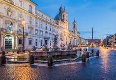广场navona,罗马,意大利看法  免版税图库摄影