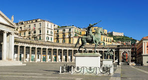 广场Plebiscito,那不勒斯,意大利 库存图片
