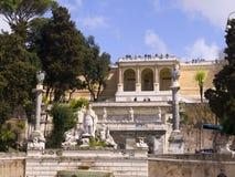 广场Popolo和别墅Borguese庭院在罗马意大利 库存图片
