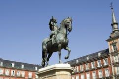 广场Square市长。马德里。西班牙。 免版税库存照片