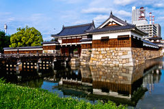 广岛的老市墙壁和护城河视图 免版税库存照片