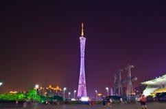 广州塔在晚上 免版税库存图片