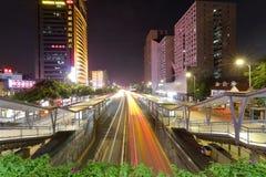 广州明亮的驻地夜视域 免版税图库摄影