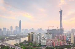 广州珍珠河,小行政区电视塔 免版税图库摄影