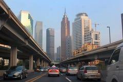 广州珍珠的r中心商务区城市道路视图  图库摄影