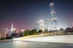广州珠江新的镇在晚上 库存图片
