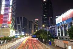 广州街道夜视域  免版税图库摄影