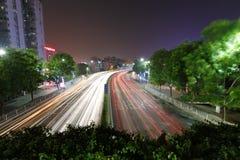 广州街道夜视域 库存图片