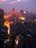 广州都市地平线在晚上 库存照片