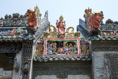 广州,中国著名旅游胜地、陈祖先大厅、屋顶形象和狮子艺术装饰 库存照片