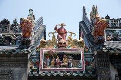 广州,中国著名旅游胜地、陈祖先大厅、屋顶形象和狮子艺术装饰 免版税库存照片