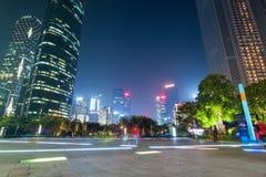 广州huacheng正方形在晚上 库存照片
