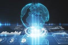 广播、cryptocurrency和全球企业概念 免版税图库摄影