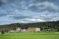 广泛的地面的Chatsworth议院在德贝郡 图库摄影