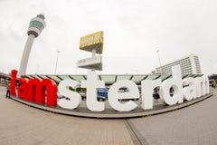 广角看法我是阿姆斯特丹标志 免版税库存照片