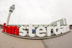 广角看法我是阿姆斯特丹标志 免版税图库摄影