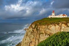 广角罗卡角灯塔,欧洲的末端 免版税库存图片