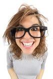 广角观点的有玻璃微笑的一名怪杰妇女 库存照片