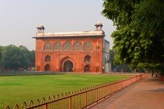 庄严德里红堡或Lal Qila的片段在德里,印度 它是世界遗产名录站点 库存照片