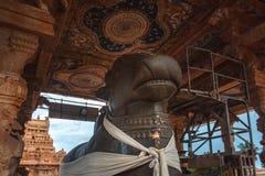 庄严整体楠迪, Brihadishvara寺庙,坦贾武尔 库存照片