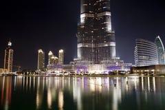 庄严迪拜Burj哈利法的正面图 免版税库存图片