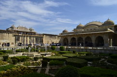 庄严阿梅尔堡垒的片段在斋浦尔拉贾斯坦印度 库存图片
