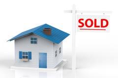庄园房子例证实际被出售的向量 免版税库存照片